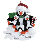 Single Parent Penguin, with two children- Personalized Ornament