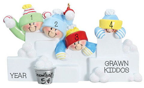 Snowball Fight- Family of 4 personalized ornament