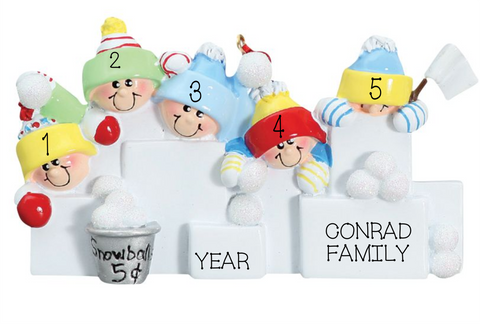 Snowball Fight- Family of 5 personalized ornament