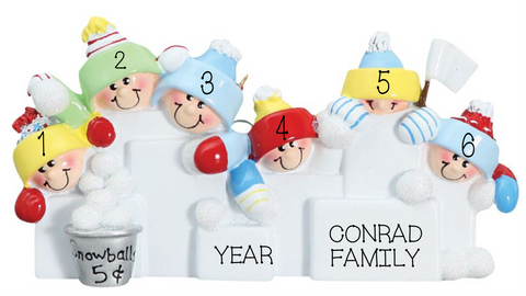 Snowball Fight- Family of 6 personalized ornament