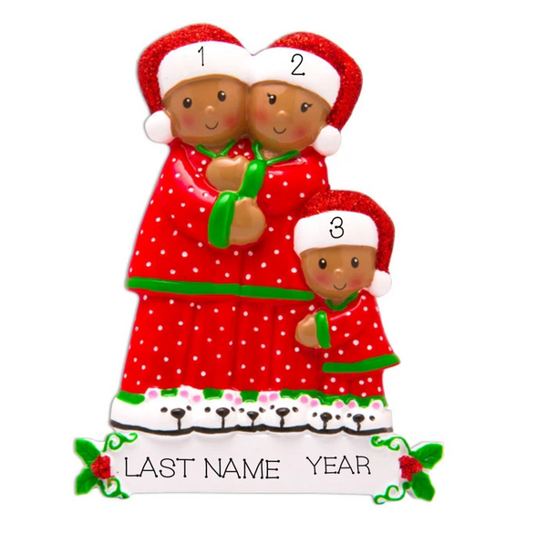 Pajama Family of 3, Personalized Ornament, Dark Skin