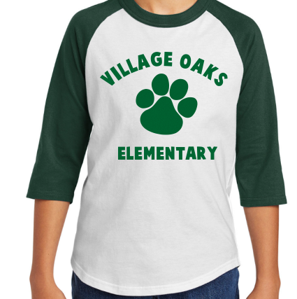 Village Oaks green & white raglan sleeve shirt