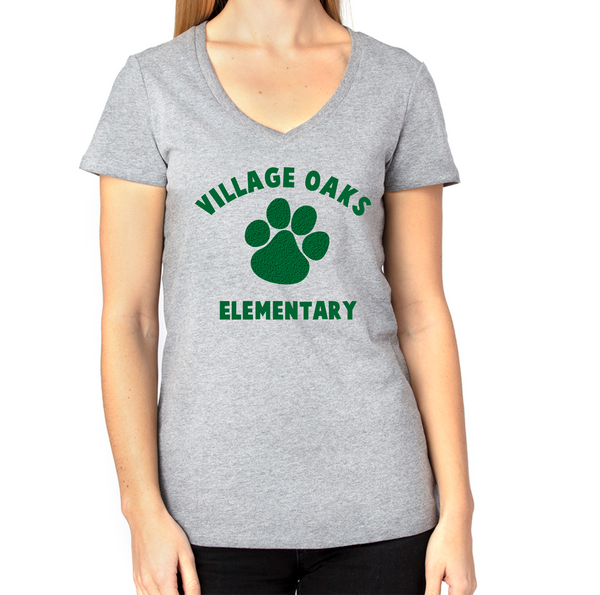 Village Oaks Elementary, Women's poly/cotton v-neck t-shirt