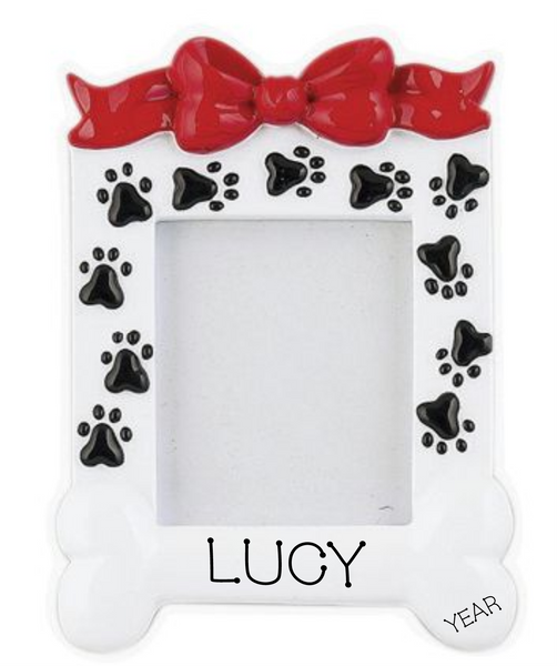White Dog Frame With Bone- Personalized Ornament