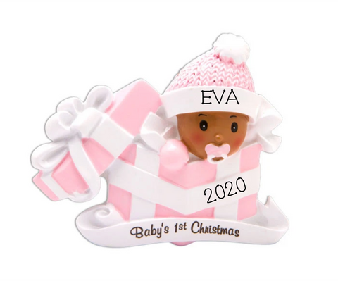 Baby's First Christmas - Dark Skin Girl
