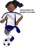 Soccer Player Girl- Dark Skin Personalized Ornament