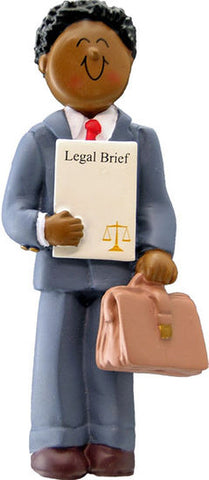 Attorney/Lawyer, Dark Skin, Male- Personalized Ornament