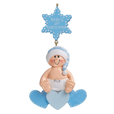Baby on heart, boy- Personalized Christmas Ornament