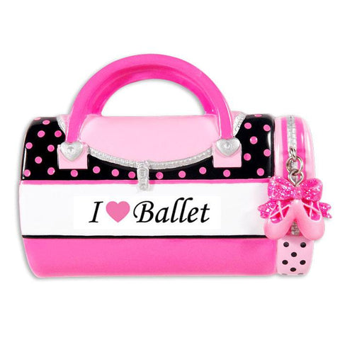 Dance, Ballet, I love Ballet bag- Personalized Christmas Ornament