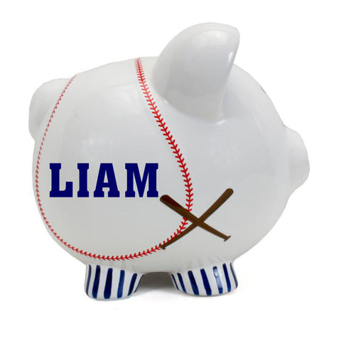 Personalized Baseball Themed Piggy Bank