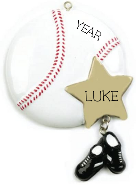 Baseball Star-Personalized Christmas Ornament