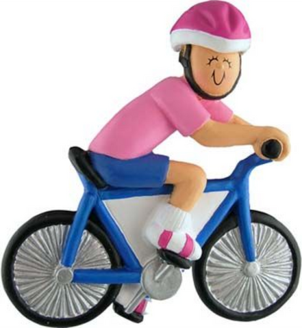 Bicyclist, Female- Personalized Christmas Ornament