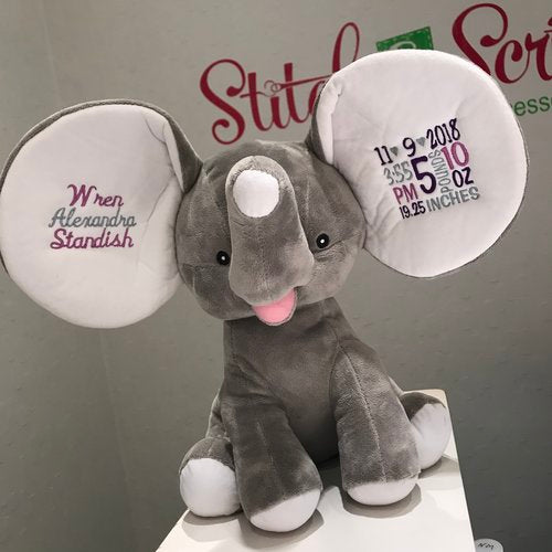 Personalized Big Earred Elephant Dumble (grey)