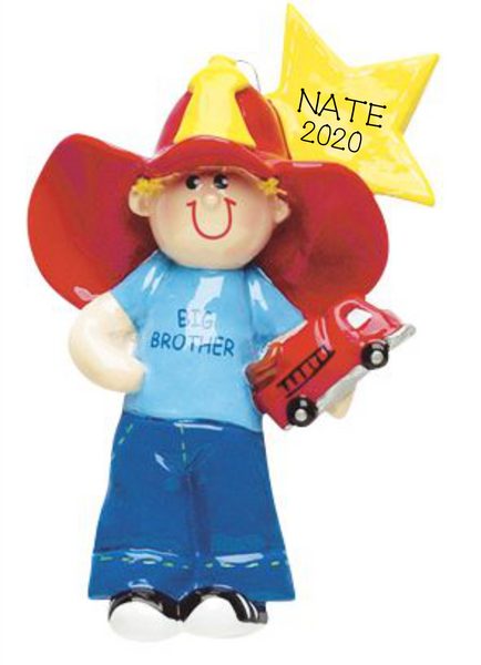 Big Brother/Firetruck- Personalized Christmas Ornament