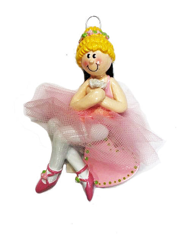 Dance, Ballet, Ballerina, Blonde Hair- Personalized Christmas Ornament