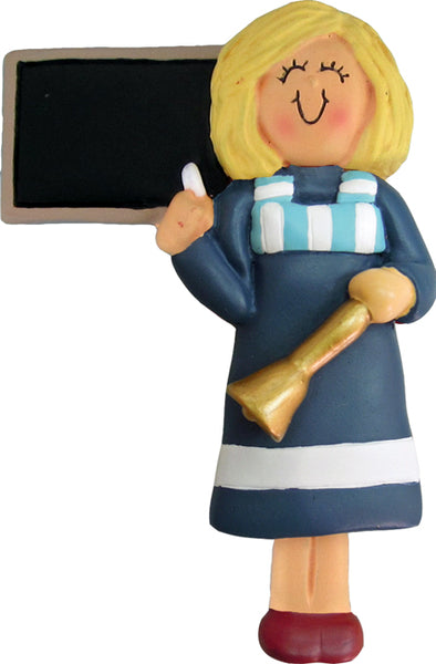 Teacher, Blonde Hair Female-personalized ornament