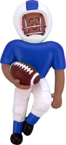 Football Player Blue Uniform, Dark Skin- Personalized Ornament