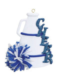 Cheer, Megaphone, Blue- Personalized Ornament