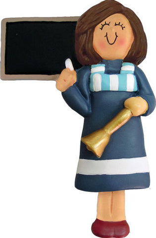 Teacher, brown hair female-personalized ornament