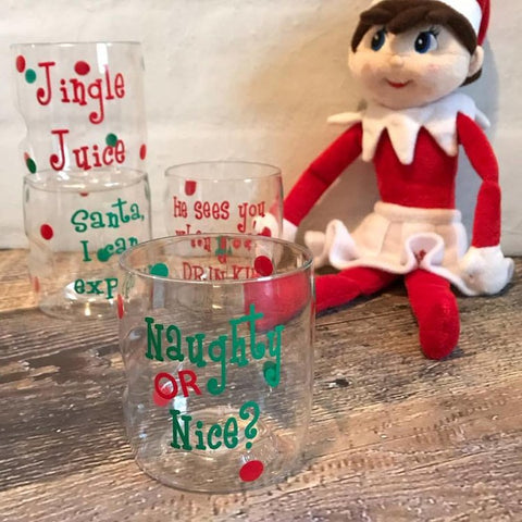 Christmas Themed Shatterproof Cocktail Glasses, (set of 4)