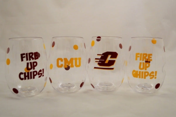Central Michigan shatterproof Govino Wine Glasses (set of 4)