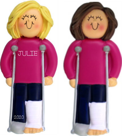 Crutches, Female- Personalized Christmas Ornament