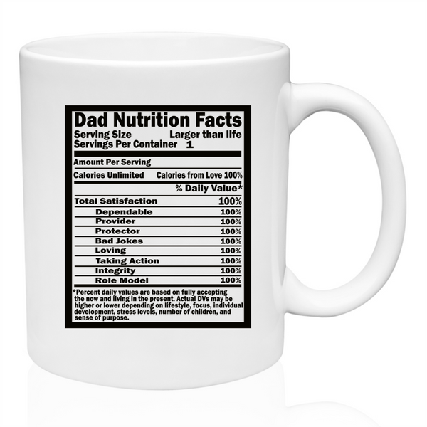 Dad nutritional facts coffee mug