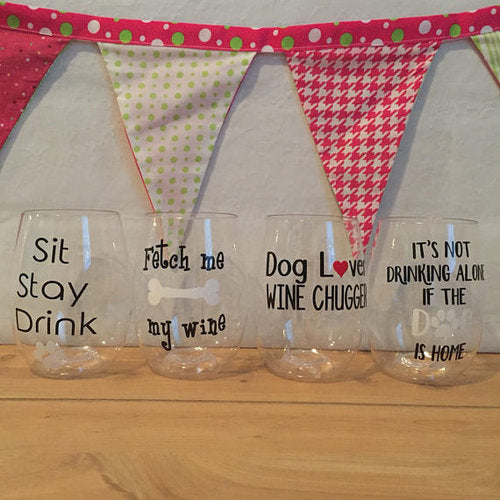 Dog Lover Shatterproof Govino Wine Glasses, (set of 4)