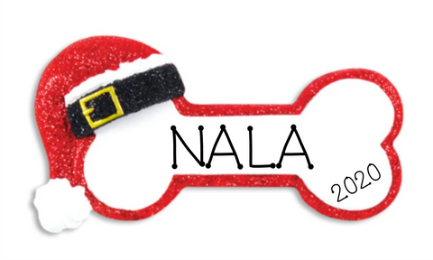 Santa Dog Bone- Personalized Christmas Ornament