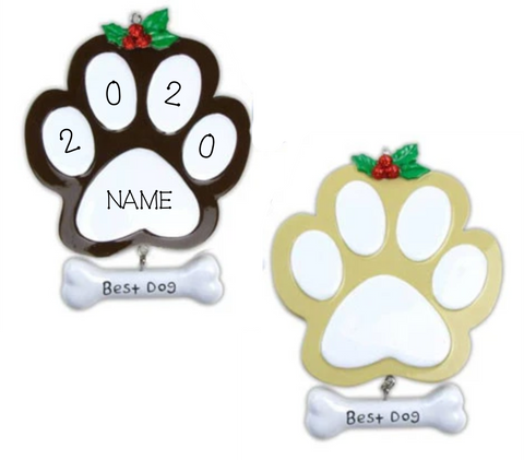 Dog Paw Personalized Christmas Ornament