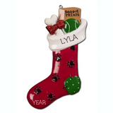 Red Dog Treat Stocking- Personalized Ornament