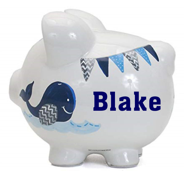 Personalized Whale Themed Piggy Bank