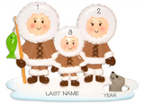 Eskimo Family Personalized Christmas Ornament- Family of 3