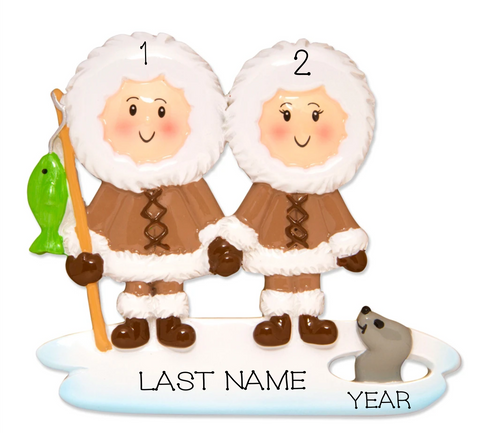 Eskimo Family Personalized Christmas Ornament- Family of 2