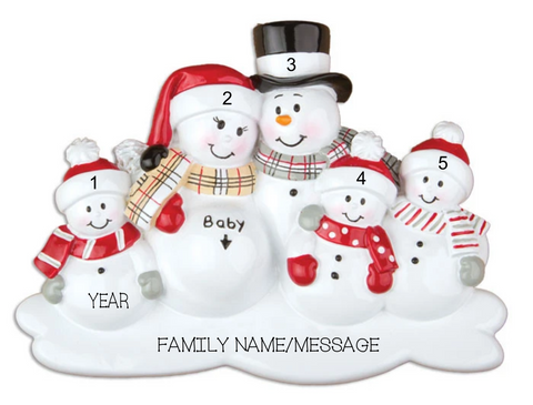 WE'RE EXPECTING W/3 CHILDREN PERSONALIZED CHRISTMAS ORNAMENT