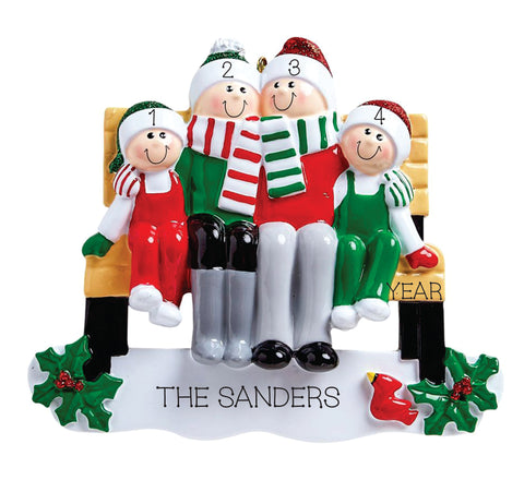Park Bench- Family of 4 Personalized Ornament