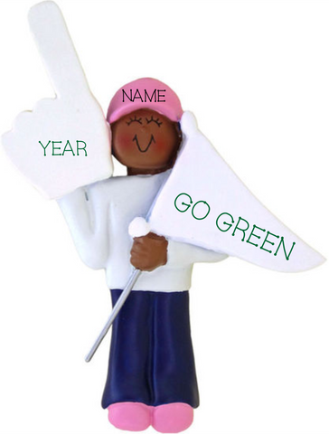 #1 Fan Woman, Dark Skin Personalized Christmas Ornament
