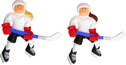 Hockey Player, Female-Personalized Ornament