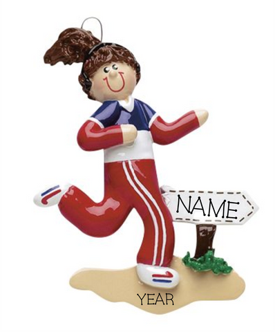 Jogger-, Female- Personalized Christmas Ornament