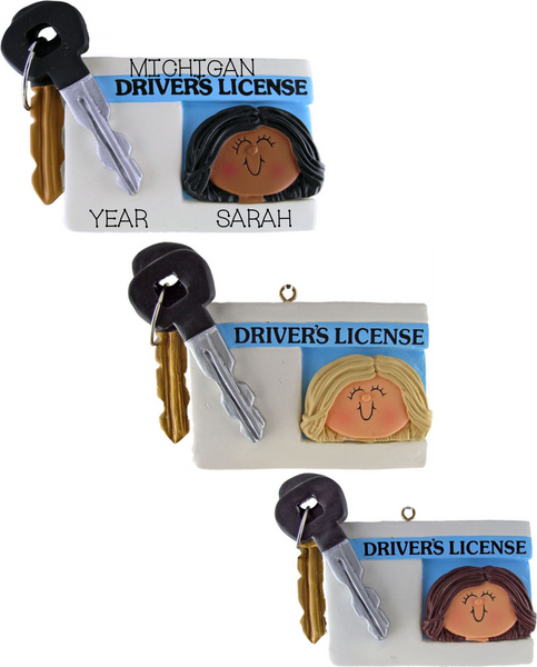 Driver's License, Female- Personalized Christmas Ornament