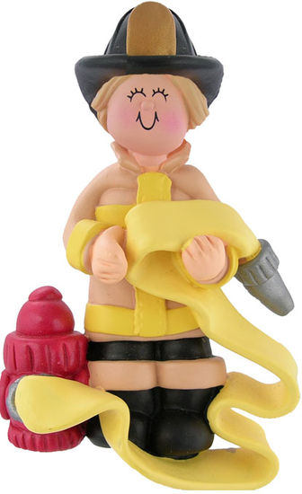 Firefighter, Blonde Hair, Female- Personalized Ornament