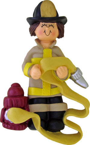 Firefighter, Brown Hair, Female- Personalized Ornament