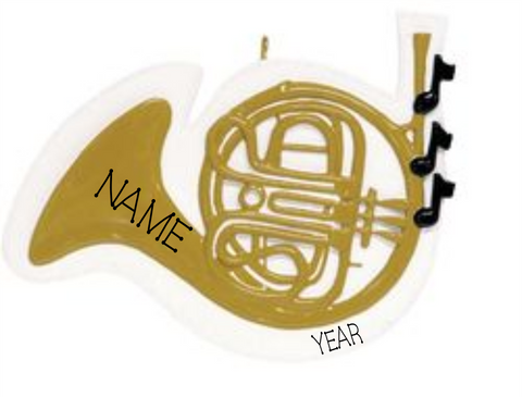 French Horn- Personalized Christmas Ornament