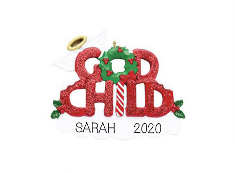 God Child, God Son, God Daughter-Personalized Ornament, Sparkle Ornament