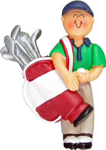 Golfer Male- Personalized Christmas Ornament