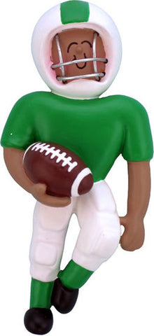 Football Player Green Uniform, Dark Skin- Personalized Ornament