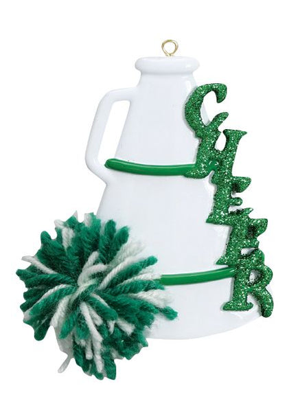 Cheer, Megaphone, Green- Personalized Ornament