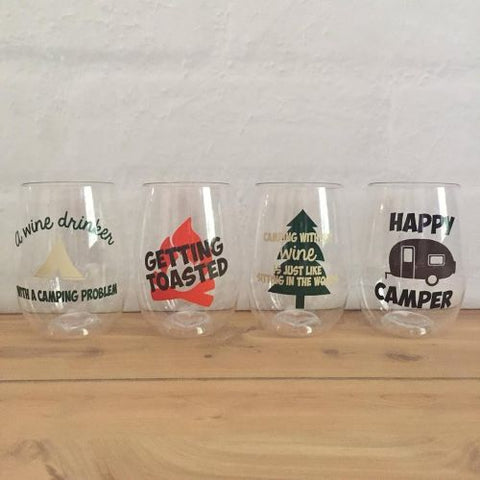 Happy Camper shatterproof Govino Wine Glasses (set of 4)