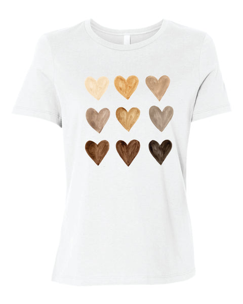 Watercolor heart, diversity love women's shirt