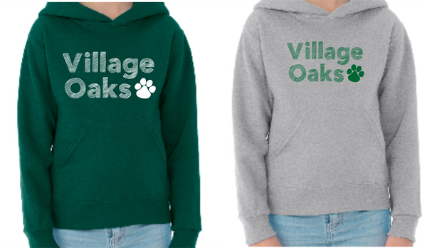 Village Oaks, Option 1, hooded sweatshirt, youth
